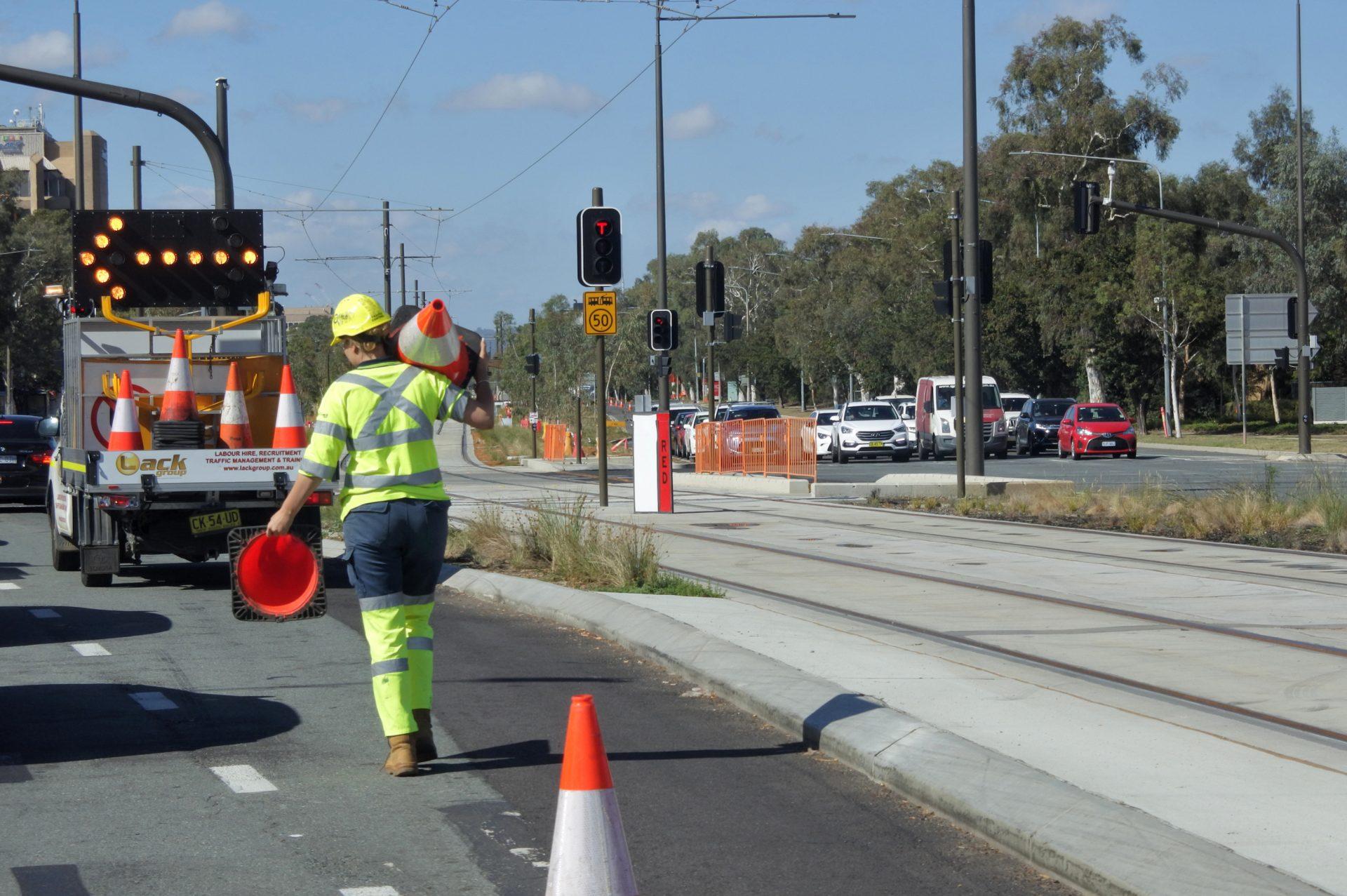 Canberra, Australia - March 01, 2019: Australian woman road worker.